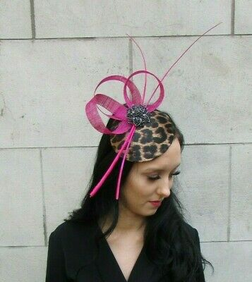Fuchsia Hot Pink Black Feather Leopard Print Hat Fascinator Races Cerise 7409