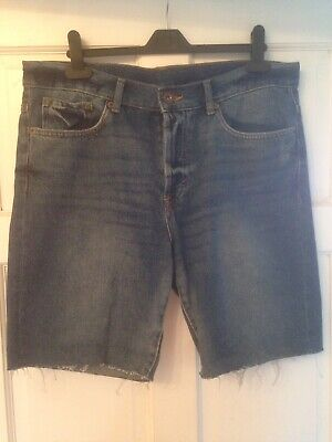"""H/&M Mens Denim Shorts Waist Size 33/"""" BNWT RRP £23.98 Washed Out Black or Blue"""