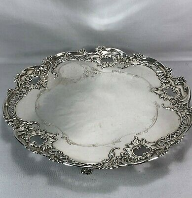 "Very Rare Whiting Sterling Silver 12"" Five Footed Salver Tray French Style 812g"