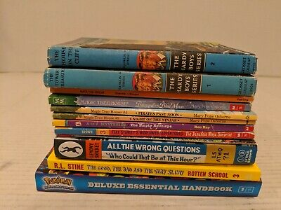 Lot 12 Chapter Books Black Lagoon RL Stine Hardy Boys Magic Tree House Pokemon