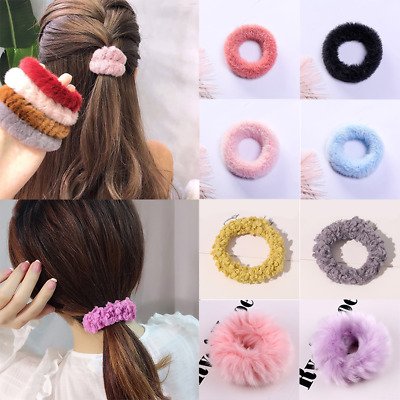 Pure Color Faux Rabbit Fur Elastic Hair Bands Hair Ties Ponytail Hair Rope Ring