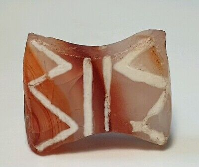 ´15.2mm ANCIENT LARGE INDO-TIBETAN ETCHED CARNELIAN AGATE BEAD