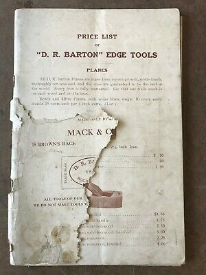 "Early ""Mack & Company"" Catalog & Prices of ""D. R. Barton"" Edge Tools"