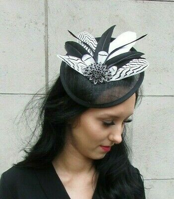 Black White Feather Disc Saucer Hat Fascinator Hair Races Wedding Sinamay 7419