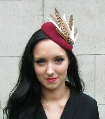 Blush Light Pink Burgundy Wine Red Brown Pheasant Feather Hat Fascinator 7425
