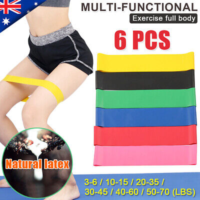 6X Resistance Band Loop Yoga Pilates Home Gym Fitness Exercise Workout Training