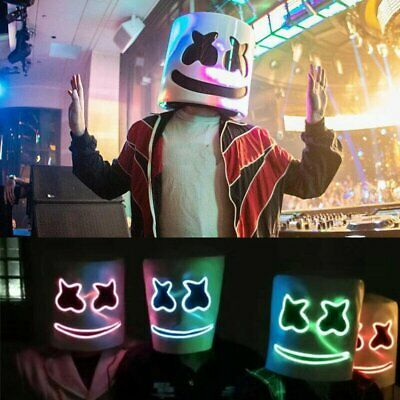 Halloween MarshMello DJ Mask Full Head Helmet LED Flash Mask Bar Marshmallow UK