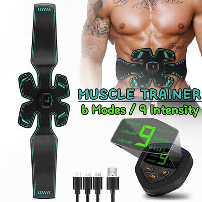 6 Mode USB EMS Muscle Training Toning Belt ABS Gear Abdominal Stimulator Trainer