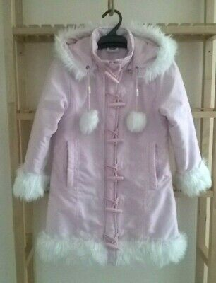 Pink Size 6 Girls Jacket Coat Hooded White Faux Fur Trim Angel 'N Disguise Brand