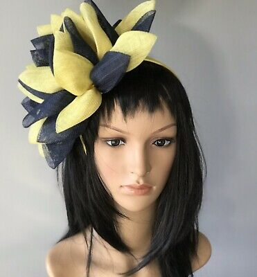 STUNNING BRAND NEW NAVY AND YELLOW FASCINATOR ASCOT Wedding Occasion formal Hat