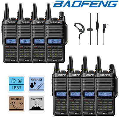 8x Baofeng IP67 Waterproof UHF VHF Two Way Ham Radio 5KM Walkie Talkie = UV-9R