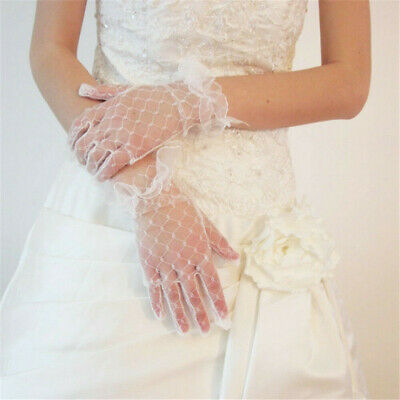 2PCS Bridal Ivory Lace Wedding Gloves Elegant Women Lady Wedding Party Gloves