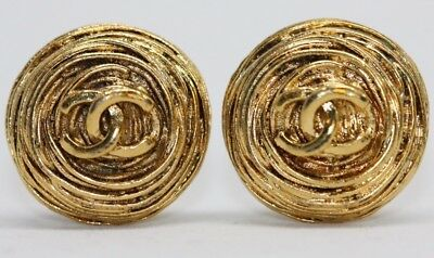 AUTHENTIC Vtge CHANEL Gold Tone Clip Earrings Round Bird Nest CC Logo France