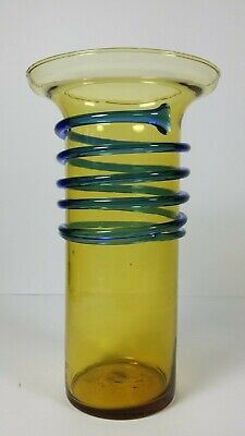 Antique Tango Yellow Blue Swirl Glass Vase Czech Bohemian Art Deco Loetz Era