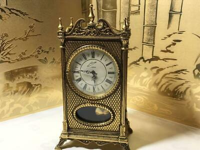 Antique Pendulum Table Clock Manual Winding Gold Color Vintage Operating  F/S