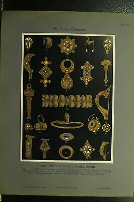 100+ year old antique vintage color print ancient Roman Ornament Gold Jewelry