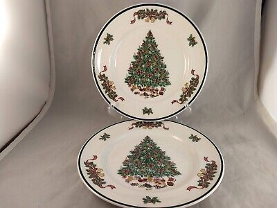 Set of 2 Johnson Brothers Victorian Christmas Dinner Plates