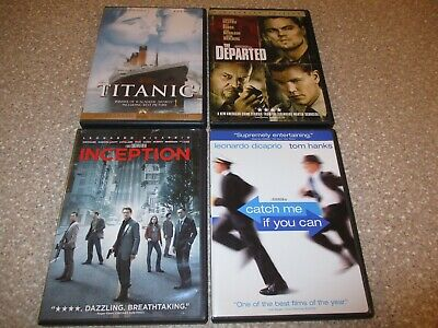 Lot of 4 Leonardo Dicaprio DVDs The Departed Titanic Inception Catch me if you..