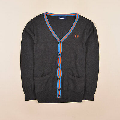 Fred Perry Junge Kinder Cardigan Pullover Sweater Gr.158 Strick Grau 75473
