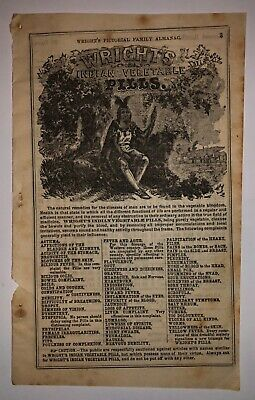 Vintage 1883 Medicine Ad for Wrights Indian Vegetable Pills - Medical Quackery