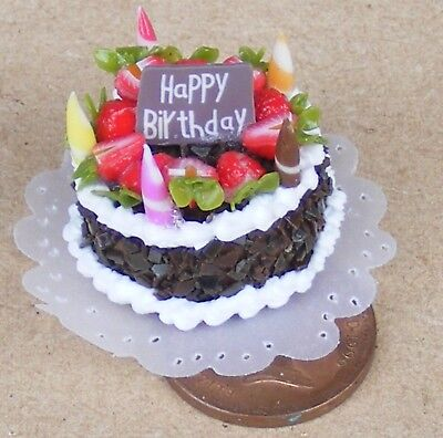 1:12 Scale Birthday Cake With Lime Icing Tumdee Dolls House Accessory NC46