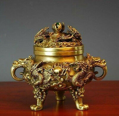 Chinese ancient handwork Copper 9 dragons delicate inlaid tripod Incense Burner