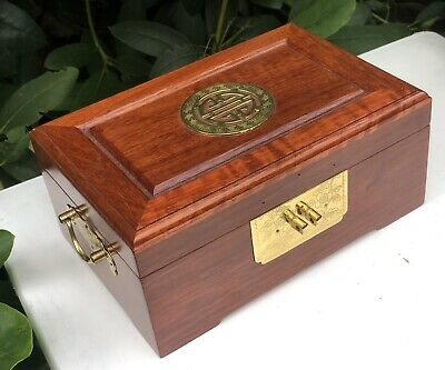 Oriental Chinese Japanese Wooden Wood Jewellery Box Case Container Display