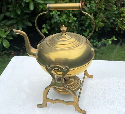 Antique Brass Arts And Crafts Kettle On Stand
