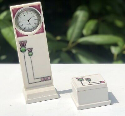 Mackintosh Art Nouveau Style Deco Miniature Grandfather Long Case Clock And Box