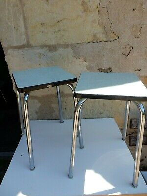 CONTINENTAL 1950S ERA MELAMINE TOPPED CHOME LEGGED LOW KITCHEN STOOLS  PAIR  b