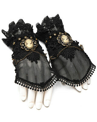 Punk Rave Steampunk Fingerless Gloves Black Lace Gothic Victorian Copper Cameo