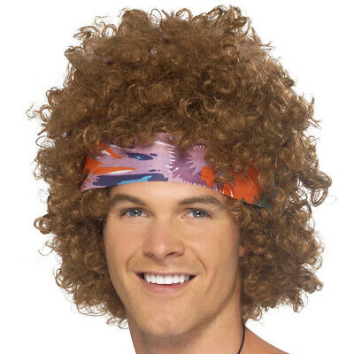 Mens 70s Hippie Afro Wig Kit Peace Necklace Headscarf Hippy