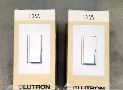 Lutron Diva DVSTV-WH Dimmer For 0-10V LED/Fluors.Fixtures. Single Pole Or 3 Way