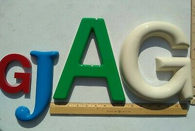 "Four GIANT 3D Gemini Letters ""GjAG"" 4"" 6"" 9"" Red Blue Green Ivory plastic large!"