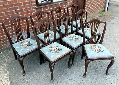 Set 8 Edwardian antique solid mahogany Sheraton revival dining kitchen chairs