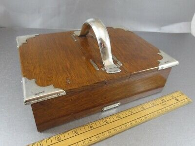 Huge Arts & Crafts Sterling & Oak Double Cigar Box! London 1915. Mappin & Webb