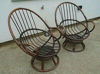 Terrific Pair Vintage Bamboo Swivel Seat Egg Shape Arm Chair Retro Pabps2019 Chair Design Images Pabps2019Com