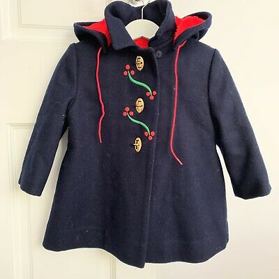 VINTAGE Child's COAT 3 Years SAKS FIFTH AVENUE Girl Blue Hooded Heavy VGC