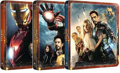 IRON MAN 1, 2 & 3 : 4K + Blu-ray UK Exclusive STEELBOOK Set, Bundle, Pre-Order