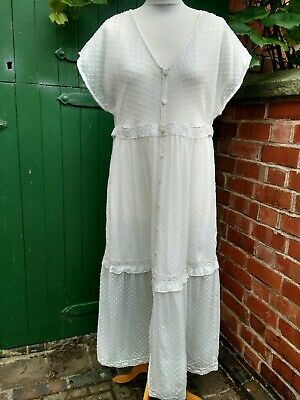 AllSaints Maxi Dress Size UK 14 Ivory White Tiered Sheer Buttons Jane Austen