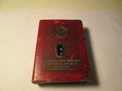 Vintage Metal Cooperative Life Insurance Coin Bank Columbus Ohio Book Style