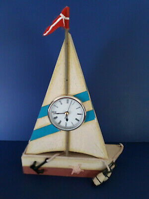 Wooden Nautical Sailboat Sailing Ship Wall Tabletop Clock Decor Coastal Lake 14""