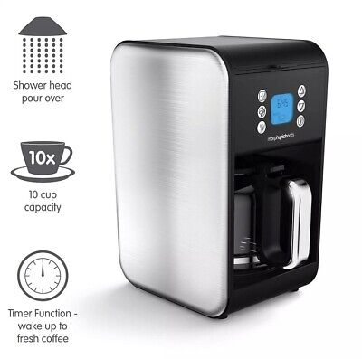Morphy Richards 162010 Accents Pour over Filter Coffee Maker Stainless Steel New