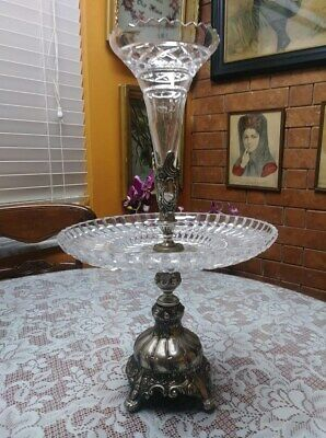 Antique Silver Plate And Crystal Two Tiered Epergne