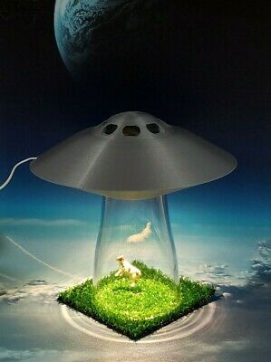 SILVER UFO LAMP Extraterrestrial Alien Abduction Outer Space
