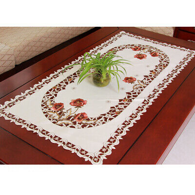 Embroidered Tablecloth Floral Lace Satin Tablecover Dining Banquet Decor 23x47''