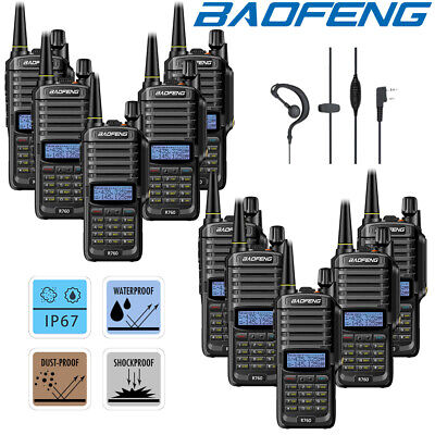 10x Baofeng IP67 Waterproof UHF VHF Walkie Talkie Long Range 2 Way Radio = UV-9R