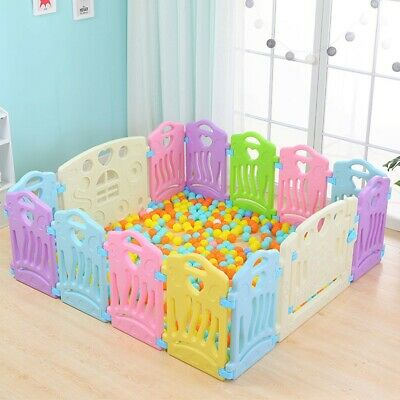 14 Panel Baby Playpen Kids Safety play Fence Center Yard Home Indoor Outdoor Pen