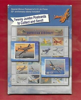 9AMERICAN AIRCRAFT 20 Jumbo Postcards Provided by USPS+50th Anniv. USAF Postcard