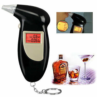 Digital LCD Police Breath Breathalyzer Black Alcohol Tester Handheld SA